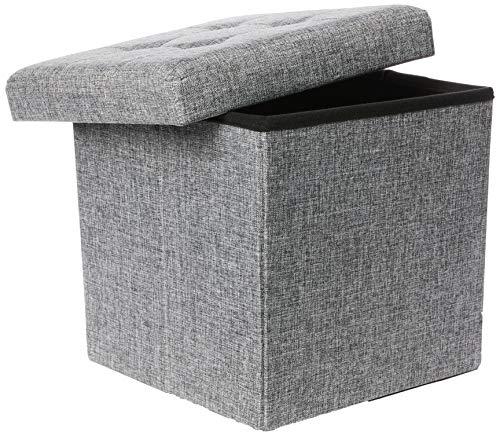 Relaxdays faltbarer Sitzhocker aus Leinen, grau, 38cm - 3