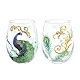 NymphFable Stemless Wine Glass Hand Painted Peacock Glass Set of 2 Wine Tumbler Personalised Gift for Women Friend 18oz