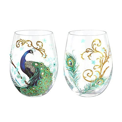 NymphFable Set di 2 Bicchieri Vino Senza Stelo Colorati Pavone Dipinta a Mano Regalo di Compleanno Anniversario 520 ml