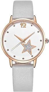 Xieifuxixxxnnssb women's watches Women's Quartz Watch With White Dial Analog Display And Blue Leather Strap, Exquisite Lad...