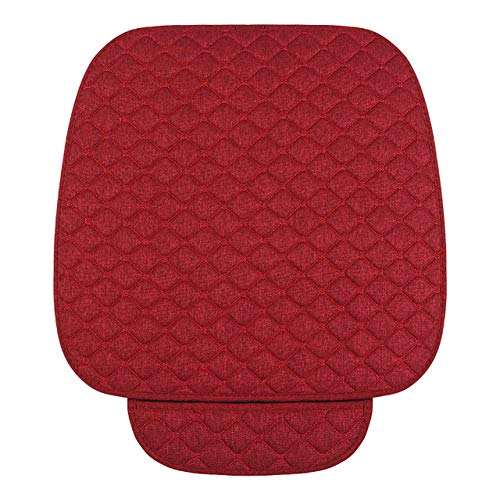 YZLYJL seat cushion Flax Car Seat Protector Auto seat Cover, Front Seat Back seat Cushion Pad Mat Auto Front Automotive Interior Styling Truck SUV,1 pad red