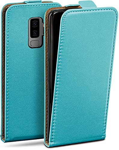 moex Flip Hülle für Samsung Galaxy S9 Plus Hülle klappbar, 360 Grad R&um Komplett-Schutz, Klapphülle aus Vegan Leder, Handytasche mit vertikaler Klappe, magnetisch - Türkis