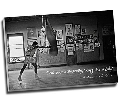 Impresión sobre lienzo con cita de Muhammad Ali Campeón Float Like A Mariposa, tamaño A1, 76,2 cm x 50,8 cm