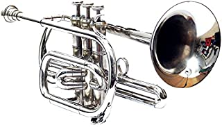 NICKEL SILVER CORNET Bb PITCH FOR SALE WITH FREE HARD CASE AND MOUTHPIECE