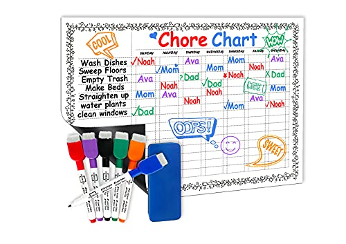 Magnetic Chore Chart for Kids - 11'x17' - Dry Erase Multiple Kids Child Behavior Chart for Refrigerator - White Board Weekly Planner -Includes 6 Quality Markers & Eraser - Family Fridge Chore Board