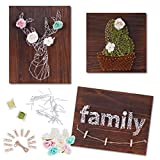 WeeYo DIY String Art Kit, 3 Pack DIY Craft Kit Includes All Crafting Supplies, Arts & Crafts Projects, String Art Patterns (Deer11×14',Cactus11×11',Family14×11') Home Wall Decorations, Unique Gift