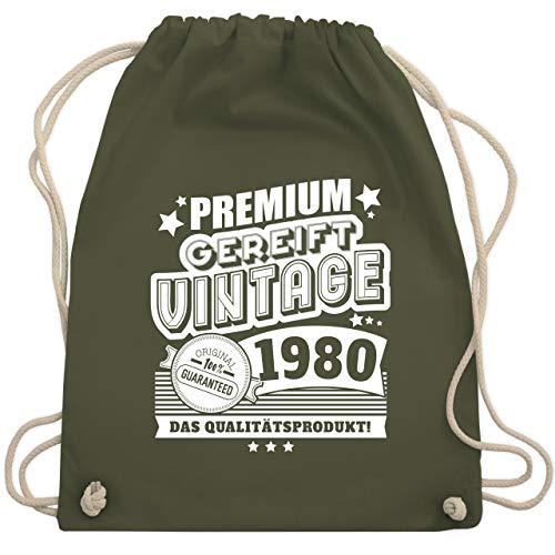 Shirtracer Geburtstag - Premium gereift Vintage 1980 40. Geburtstag - Unisize - Olivgrün - 1979 turnbeutel - WM110 - Turnbeutel und Stoffbeutel aus Baumwolle