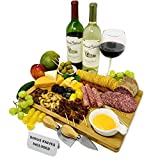 Bamboo Cheese Board with Knife Set, Wood Charcuterie Platter & Food Serving Tray for Wine Glasses,...