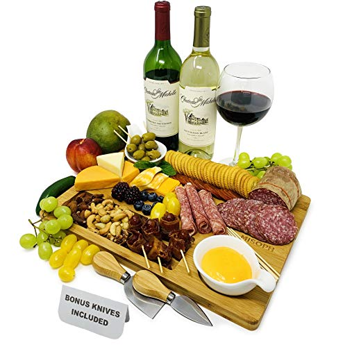 """Bamboo Cheese Board with Knife Set, Wood Charcuterie Platter & Food Serving Tray for Wine Glasses, Bowls, Cheese, Meat, House Warming Gift Choice, [15"""" x 11""""] Misoph Collection"""