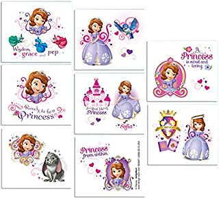 Disney Sofia the First Tattoos Princess Birthday Party Favours (16 Pack), Multi Color, 2