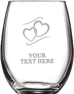 Appreciation Personalized Wine Glass - 8 oz Custom Soiree Stemless Hearts Wine Glass Favors Prime