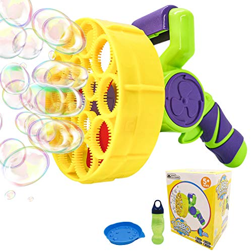 WhizBuilders Bubble Machine Gun for Kids and Toddlers, Outdoor Summer Pool Giant Water Bubbles Wand Blower Toys Gift for Toddler with Solution Refill – Automatic Big Large Bubble Maker Baby Toy Guns