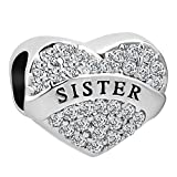 Abalorio para pulsera con forma de corazón, hecho con cristales blancos e inscripción 'I Love You Sister', de la marca Korliya
