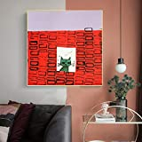 Arte lindo gato impresión de la lona pintura abstracta para sala de estar restaurante decoración de la pared arte decorativo imagen unframe un 24x24 cm