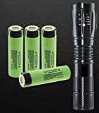 (LED Flashlight Not-Included) Set With 4x 18650 NCR18650B Flat top Rechargeable Battery, 3400mAh Made in Japan for Video doorbell, USB Fan, Power Bank LED Flashlight