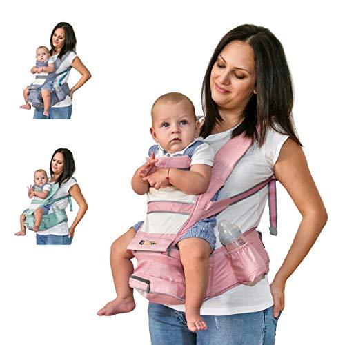 Babytrage Ergonomisch - Baby Trage mit Seitentasche und Kapuze für Schutz und Sicherheit - Babytrage Vorne Schauend Hergestellt aus Atmungsaktivem Material (Pink) (3-24 Monate)