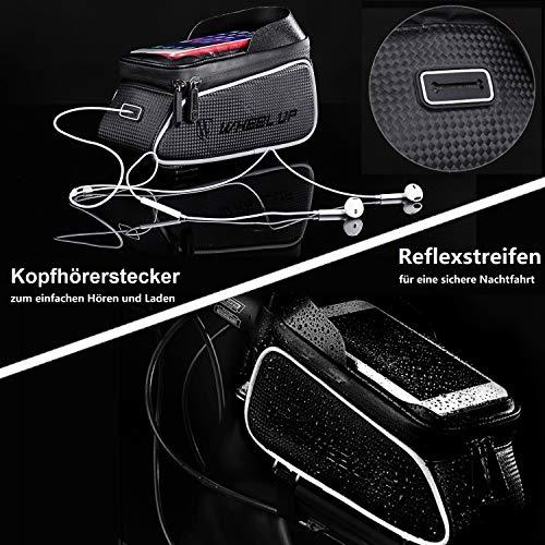 SNAWOWO Fahrrad Rahmentasche wasserdichte Fahrradtasche Oberrohrtasche Handytasche mit Sonnenblende Kopfhörerloch TPU Touchscreen Fahrrad Handyhalter für Smartphones bis 6.5 Zoll - 5