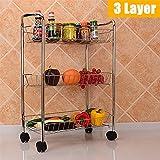 QFWM Carro De La Carretilla del Almacenamiento3/4 Capa De Cocina Trolley Carro con Ruedas Carrito Vegetal Rack Fruit Spice Storage Rack para Ba?o De Cocina (Size:#3; Color:Sliver)