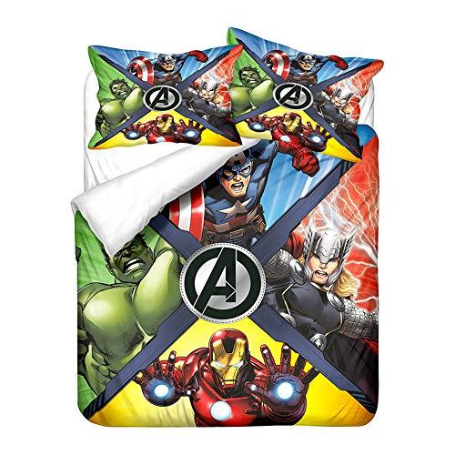 GDGM Ropa de cama con 1 funda nórdica y 1/2 fundas de almohada, diseño de superhéroes de Marvel...