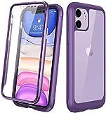 Diaclara iPhone 11 Hülle 360 Grad Bumper Case Handyhülle Wasserdicht Transparent Schutzhülle Cover mit eingebautem Displayschutz Komplettschutz Handyhülle für iPhone 11 6.1 Zoll (Lila)