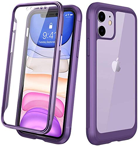Diaclara iPhone 11 Hülle 360 Grad Bumper Case Handyhülle Transparent Schutzhülle Cover mit eingebautem Displayschutz Komplettschutz Handyhülle für iPhone 11 6.1 Zoll (Lila)