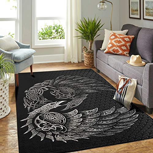 Veryday Wikinger Rabe Teppich Luxury Wohnzimmer Teppich als Türmatte Sauberlaufmatte für Schlafzimmer Küche White 122x183cm