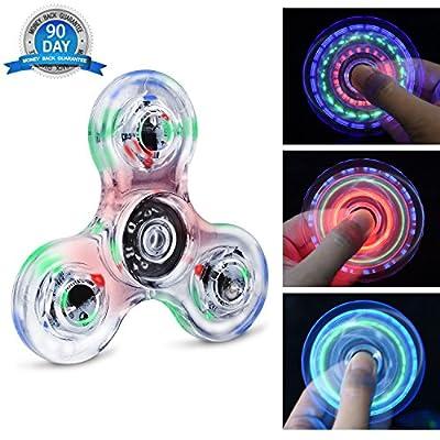 Quimat Fidget Spinner Hand Spinner LED Juguetes de Dedos Que se Enciende EDC 216 Modos Flashing para Niños Adultos Ayuda contra la Ansiedad Enfocándose en Reducir el Aburrimiento y estrés de Quimat