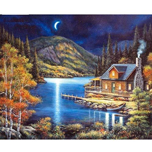 OKOUNOKO DIY Kits de Pintura al óleo por números Cabina de luz de Luna para Adultos y Principiantes de Dibujo con Pinceles Tienen Decoraciones para el hogar con Marco, 60x90 cm