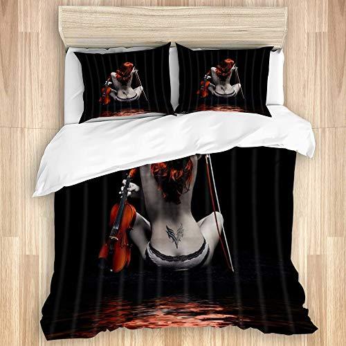 KASABULL Bettwäsche Mode sexy Frau hübsches nacktes Tätowierungsmädchen mit Geige in der schwarzen modernen Körperkunst,135 x 200cm Bettwäscheset Neue Winterdecke Aus Mikrofaser Mit 2 Kissenbezügen