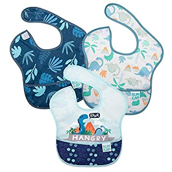 Bumkins SuperBib Baby Bib Waterproof Washable Fabric Fits Babies and Toddlers 6-24 Months - Hangry Dinosaurs Blue Tropic  3-Pack