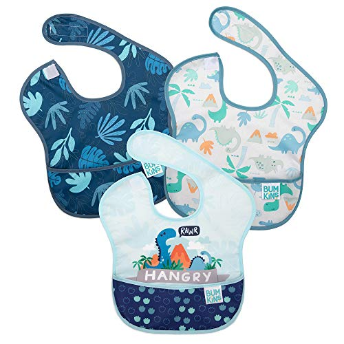 Bumkins SuperBib, Baby Bib, Waterproof, Washable, Stain and Odor Resistant, 6-24 Months, 3-Pack – Hangry, Dinosaurs, Blue Tropic