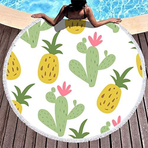 AEMAPE Pineapples - Toalla de Playa de Cactus, Gran Manta de Playa Redonda de Microfibra con borlas, Manta de Picnic para la Playa, Tapiz de Tela, Color Blanco, 59 Pulgadas