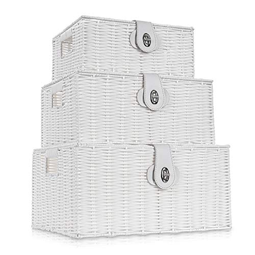 LIVIVO Set of 3 Resin Woven Wicker Hamper Basket Storage Box with Lid and Lock (Set of 3 White)