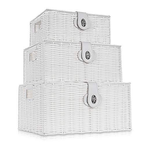 LIVIVO - Juego de 3 cestas de mimbre de resina trenzada con tapa y cerradura