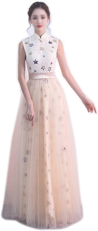 ProBikeUS Spring Evening Dress  Mesh Sleeveless Embroidery Party Elegant Princess Maix Dress (color   Champagne, Size   L)