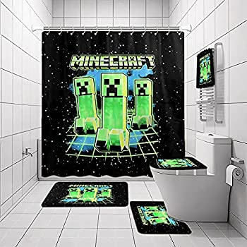 Game Shower Curtain Sets with Non-Slip Rug Toilet Lid Cover and Bath Mat Hand Towel Waterproof Shower Curtains with 12 Hooks Quick-Drying for Bathroom