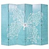Festnight Paravent Trennwand 6-teilige Raumteiler Klappbar 228 x 180 cm Schmetterling Blau