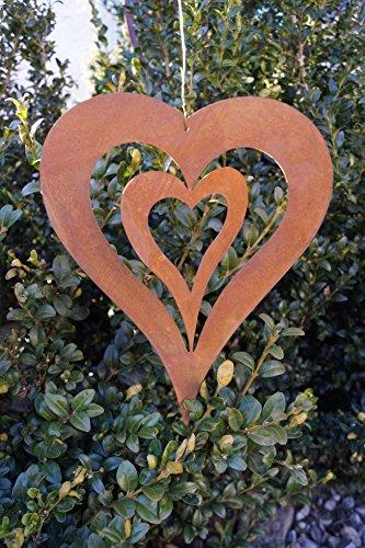 DW Edelrost Herz mit Innenherz 24,5cm zum Aufhängen Windspiel Gartendekoration Metall Rost