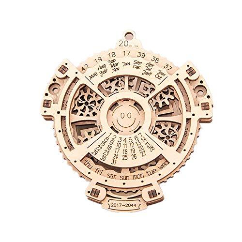 TYM Rompecabezas de Calendario perpetuo de Madera 3D, Conjunto Combinado de Juguetes de Engranajes mecánicos, Giratorio, Redondo, artesanía de Madera, Adecuado para Regalos de cumpleaños.