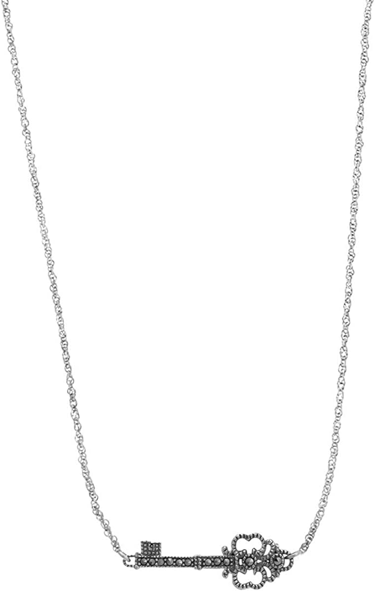 Boma Jewelry Sterling New color Silver Portland Mall Marcasite 16 Necklace Key Sideways