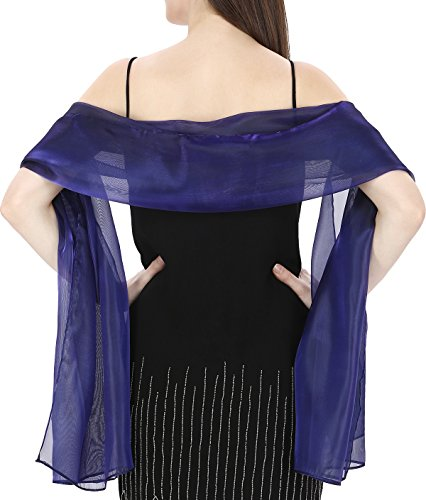 World of Shawls Silky Iridescent Wrap Stole Shawl For Weddings Bridal Bridesmaids Evening Wear Prom & Parties (Navy Blue)