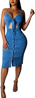 Frauen Sommer Beach Party Kleid Frauen Sexy Solid Color Sling Strap Hohl Denim Denim Button Kleid