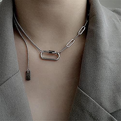 YANXIA Pendientes Vintage para Mujer Collares de Mujer Geométricos con Cadena de Cuello Simple