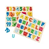 wood alphabet - Joqutoys Wooden Alphabet Puzzles Set for Toddlers, Uppercase Letter and Number Learning Board Game, Educational Learning Letter Toys for Kindergarten and Preschool Girls and Boys Gifts
