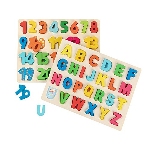 Joqutoys Wooden Alphabet Puzzles for Toddlers, Chunky ABC and Number Learning Puzzles Board for 2-5 Years Old, Educational Learning Letters and Numbers Puzzle for Preschool Boys and Girls Gifts
