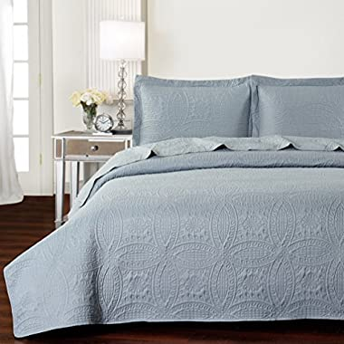 Mellanni Bedspread Coverlet Set Gray - BEST QUALITY Comforter Oversized 3-Piece Quilt Set (Full/Queen, Light Gray)
