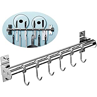 "Kitchen Pot Rack, EINFAGOOD® Kitchen Hooks Rack 6 Hooks with Knife Holder and Pot Lid Rack,Stainless Steel Double Pipe Loadable over 22 lb 15.75"" Long (Polished Finish):Eventmanager"