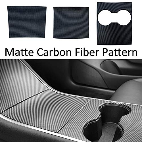 RSZX Tesla Model 3 Model Y Center Console Wrap Decoration ABS Matte Carbon Fiber Pattern Tesla Model 3 Model Y Accessories