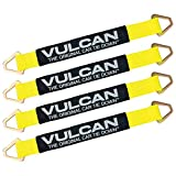 VULCAN Tie Down Axle Straps with Wear Pad - 4 Pack - Classic Yellow - 3,300 Pound Safe Wor...