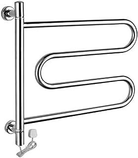 HAWK LI Radiador de Toallas eléctrico, pequeño Calentador de Toallas y secador Curvado de Pared Giratorio de 180 °, toallero Calefactor de Acero Inoxidable 304 para Baño (Ba)